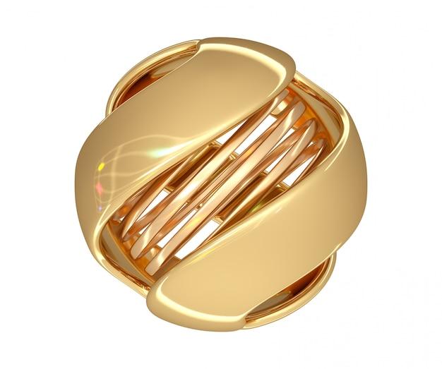 Resumo bola de ouro cor com uma espiral no centro e cor destaques na superfície. 3d rendem. Foto Premium
