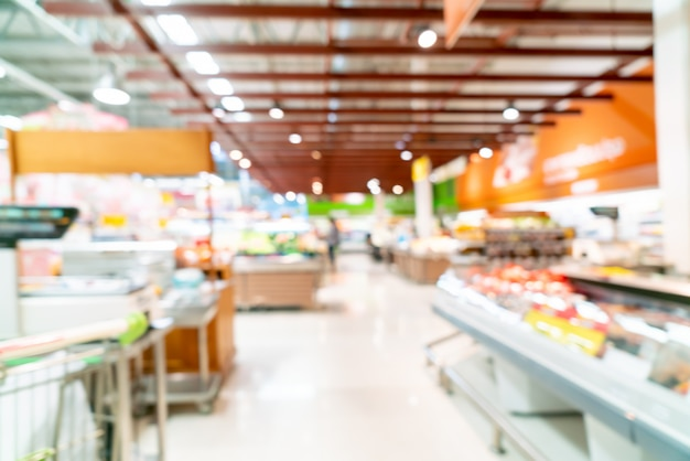 Resumo borrão no supermercado para plano de fundo Foto Premium