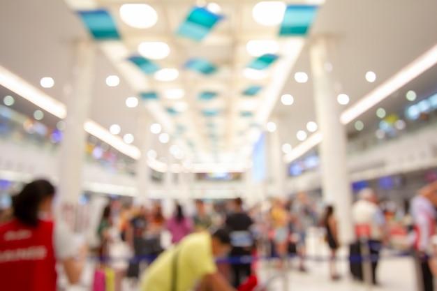 Resumo borrão terminal de aeroporto e salão interior para plano de fundo Foto Premium