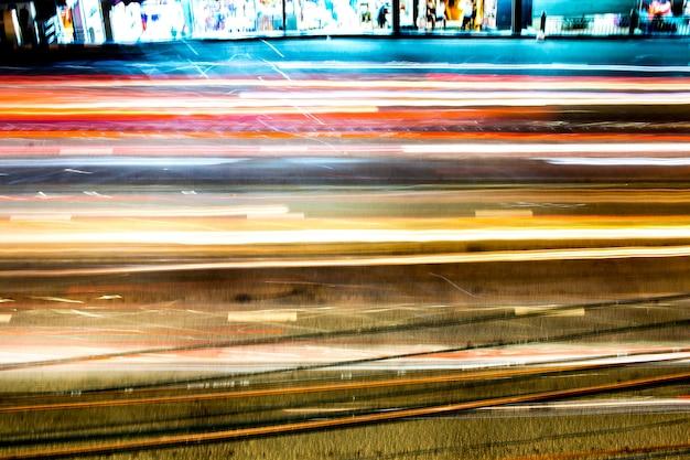 Resumo de feiras de luz multicoloridas da cidade em movimento Foto Premium