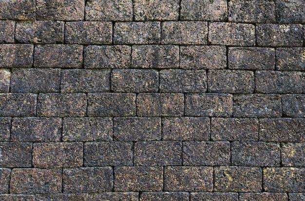 Resumo de padrão de fundo de textura de tijolo de grunge áspero / efeito de pedra vintage preto escuro de parede de tijolo velho Foto Premium