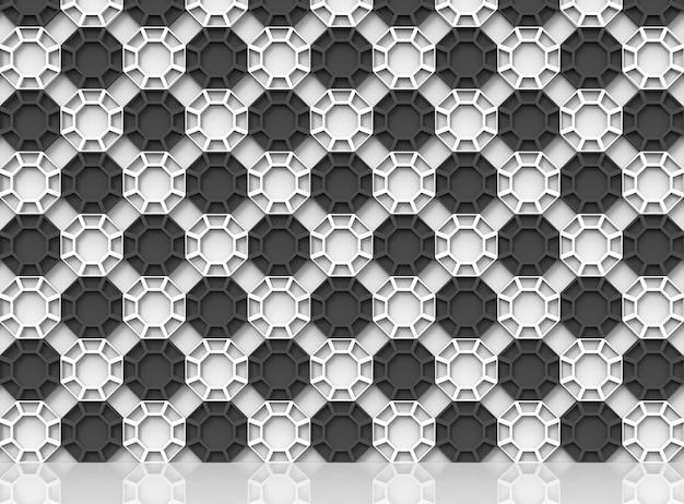 Resumo tabuleiro de xadrez cor hexagonal estilo padrão parede de fundo com reflexão sobre o Foto Premium