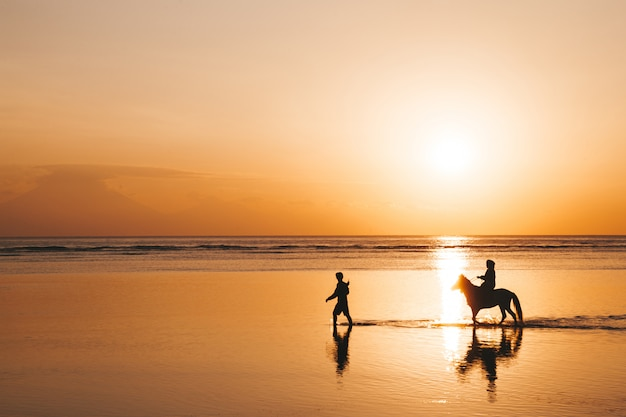 Retrato da silhueta do jovem casal romântico andando a cavalo na praia. menina e o namorado ao pôr do sol colorido dourado Foto gratuita