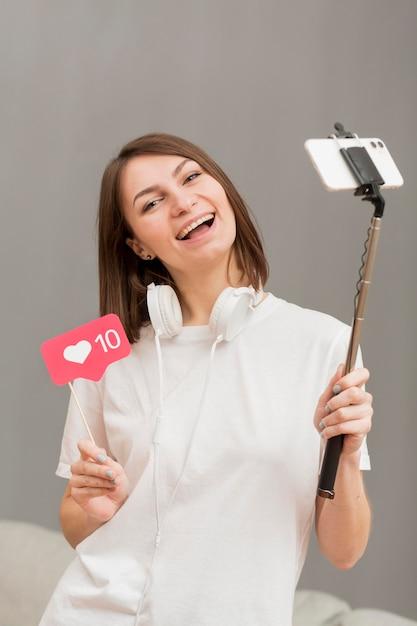 Retrato das filmagens do blogger para blog pessoal Foto gratuita