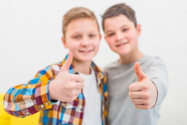 Retrato, de, dois meninos, casa Foto gratuita