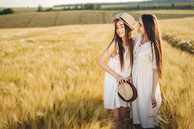 Retrato de duas irmãs em vestidos brancos com cabelos longos em um campo Foto gratuita