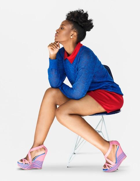 Retrato de estúdio de auto-estima de confiança mulher africana Foto Premium