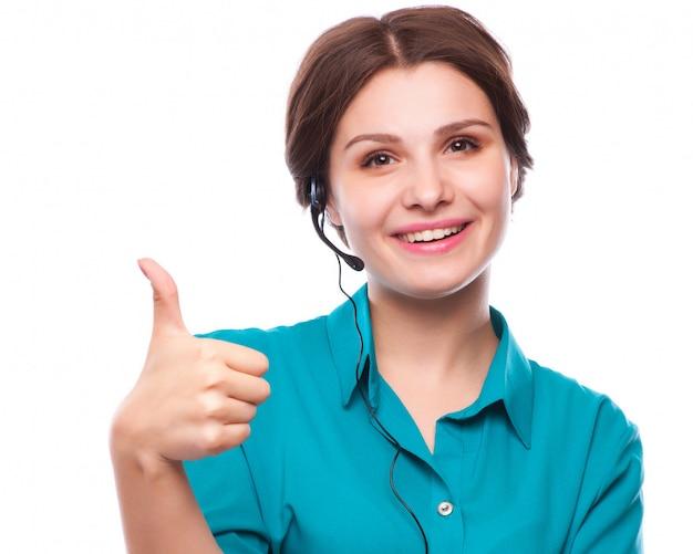 Retrato, de, feliz, sorrindo, alegre, jovem, apoio, telefone, operador Foto Premium