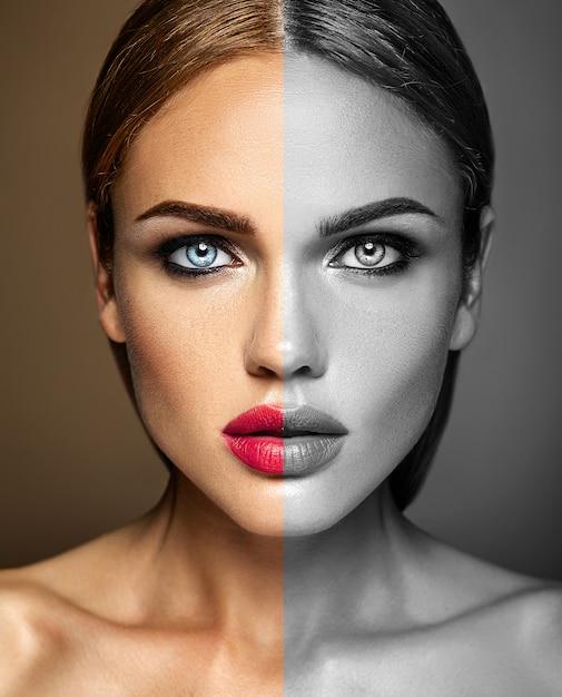 Retrato de glamour sensual da mulher modelo linda mulher com maquiagem diária fresca com lábios vermelhos. um lado do rosto é preto e branco Foto gratuita