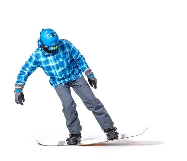 Retrato de jovem no sportswear com snowboard Foto Premium