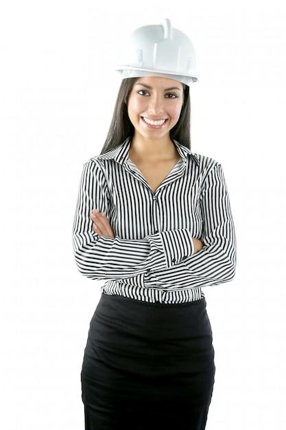 Retrato de mulher indiana arquiteto sobre branco Foto Premium