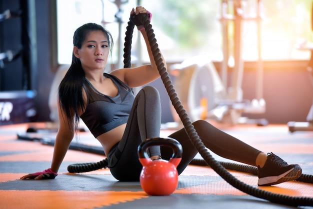 Retrato de mulheres asiáticas de esportes. Foto Premium