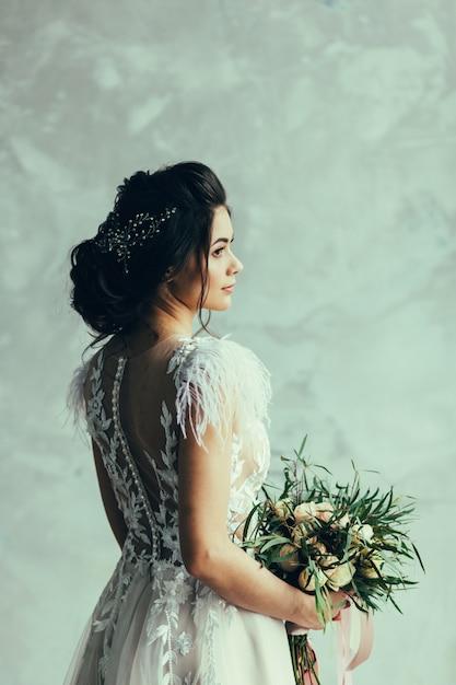 Retrato de noiva linda Foto Premium