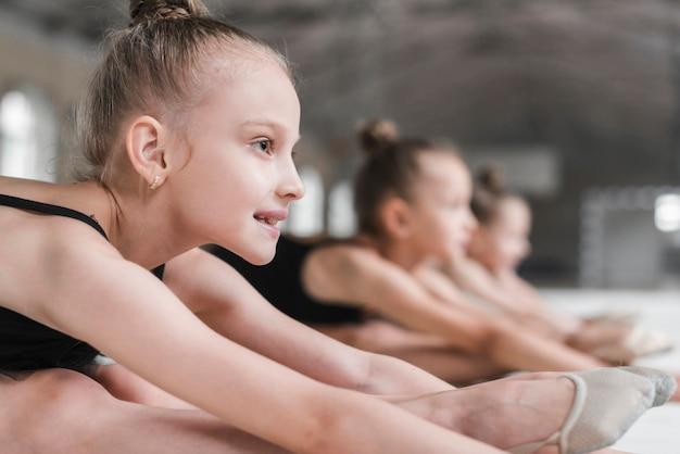 Retrato, de, sorrindo, bailarina, menina, com, dela, amigos, esticar Foto gratuita