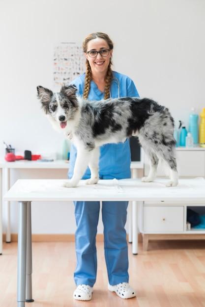 Retrato, de, sorrindo, veterinário, com, cão, ligado, tabela, em, a, clínica Foto gratuita
