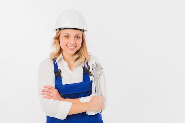 Retrato, de, trabalhador, mulher Foto gratuita