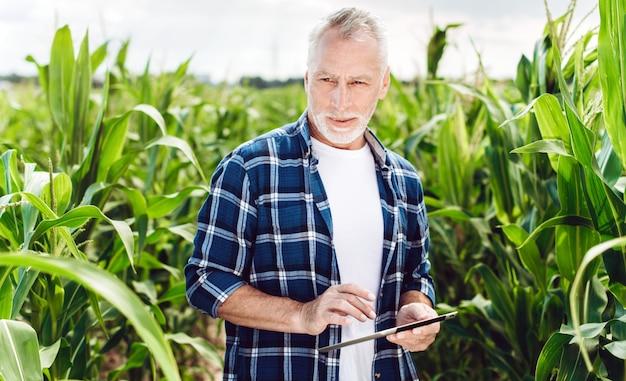 Retrato, de, um, agrônomo sênior, ficar, em, um, campo milho, tomar, controle, a, rendimento, com, ipad Foto Premium