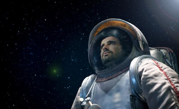Retrato, de, um, astronauta, olhar, a, infinito, espaço Foto Premium
