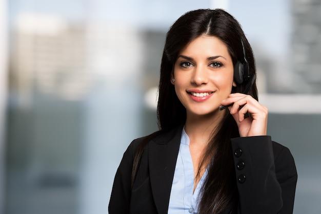 Retrato, de, um, bonito, cliente, representante Foto Premium