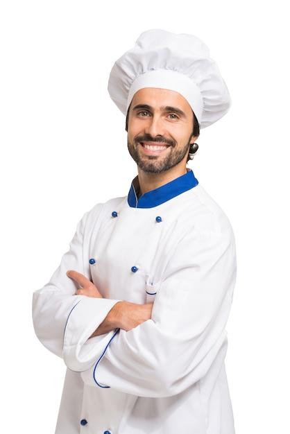 Retrato de um chef confiante isolado no branco Foto Premium