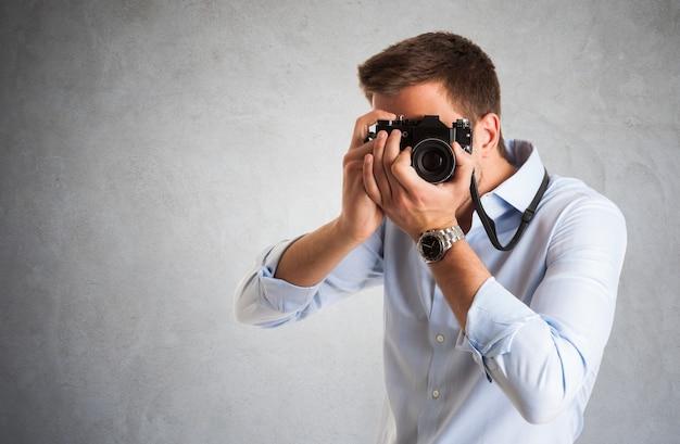 Retrato, de, um, fotógrafo, no trabalho Foto Premium