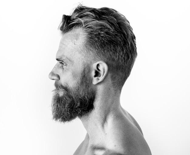 Retrato, de, um, homem, em, preto branco Foto gratuita