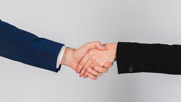 Retrato, de, um, jovem, pessoas negócio, apertar mão, contra, cinzento, fundo Foto gratuita