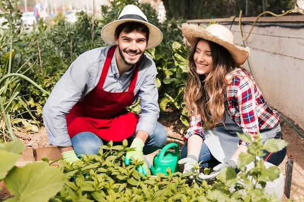 Retrato, de, um, macho fêmea, jardineiro, trabalhando, jardim Foto gratuita