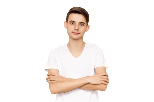 Retrato, de, um, sujeito, em, um, branca, t-shirt, isole Foto Premium