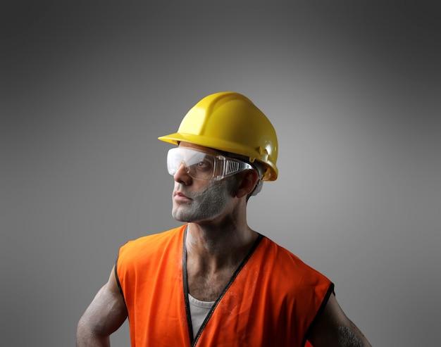 Retrato, de, um, trabalhador Foto Premium