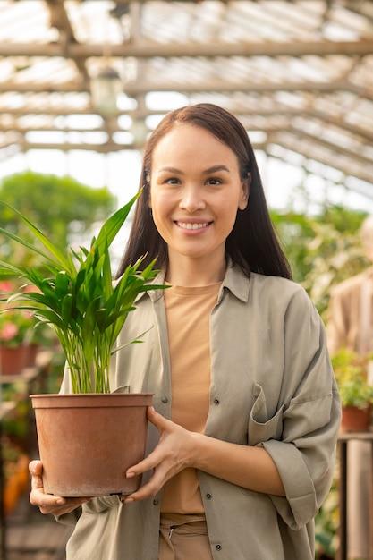 Retrato de uma jovem asiática feliz em uma camisa casual em pé com uma planta verde no vaso enquanto trabalhava em estufa Foto Premium