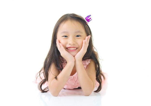 Retrato de uma linda menina asiática Foto Premium