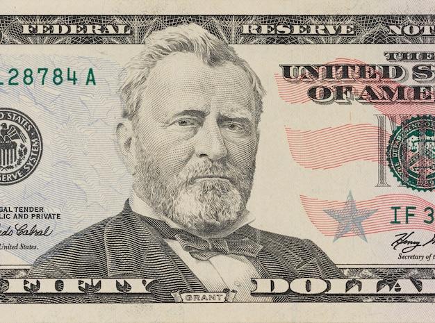 Retrato do ex-presidente americano ulysses grant. macro de 50 dólares Foto Premium