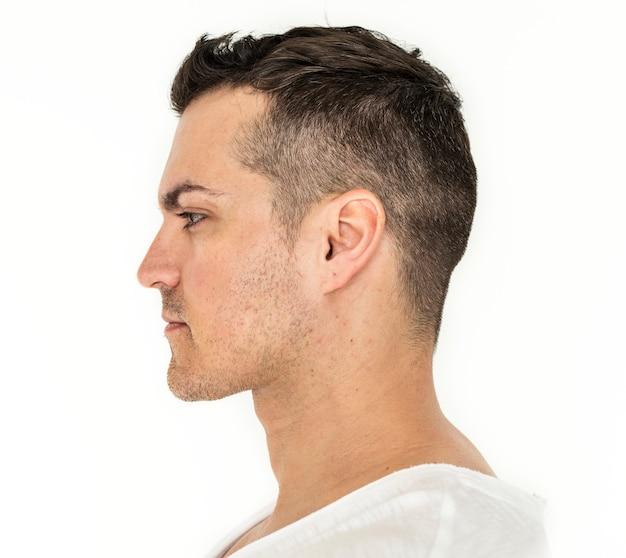 Retrato lateral, de, homem branco Foto gratuita