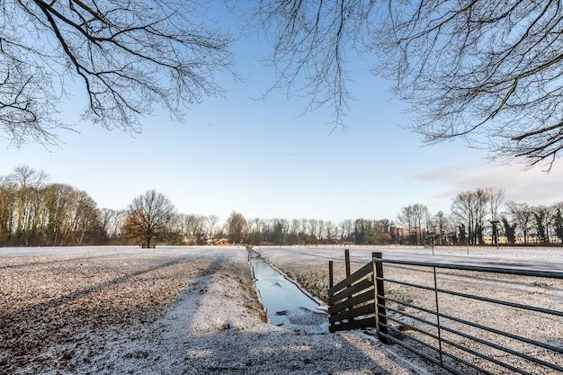 Riacho de água estreito no meio de um campo vazio coberto de neve Foto gratuita