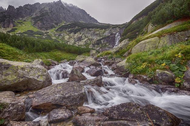 Rio da montanha fluindo através das pedras. Foto Premium