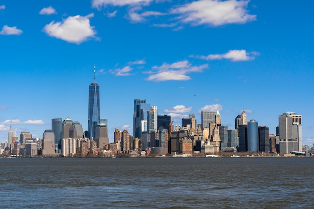 Rio de paisagem urbana de nova york Foto Premium