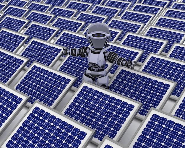 Robô com painel solar Foto gratuita