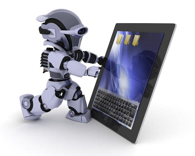 Robô com um tablet digital Foto gratuita