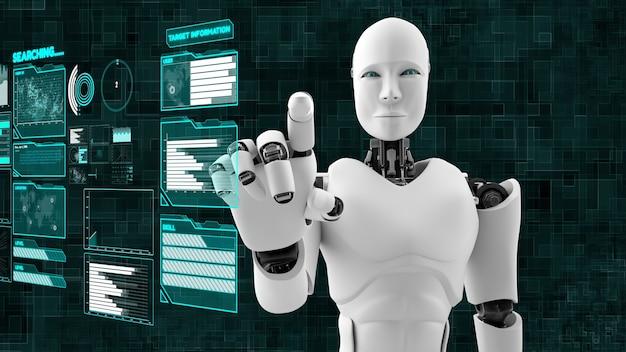 Robô futurista, análise e programação de big data cgi de inteligência artificial Foto Premium