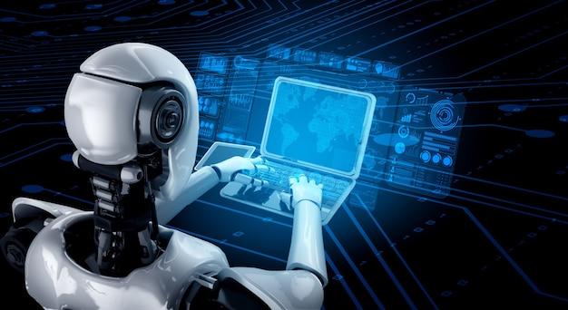 Robô humanóide usa laptop e senta-se à mesa para análise de big data usando o cérebro pensante de ia Foto Premium