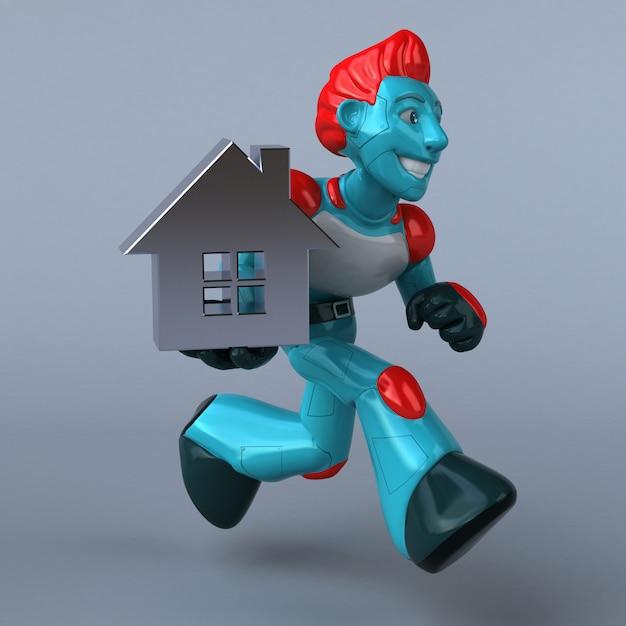 Robô vermelho - ilustração 3d Foto Premium