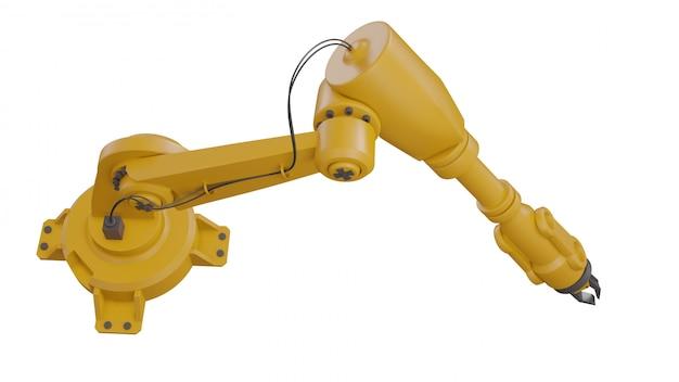 Robôs industriais diferentes isolados no fundo branco braço robótico branco de renderização 3d com espaço em branco sobre fundo branco Foto Premium