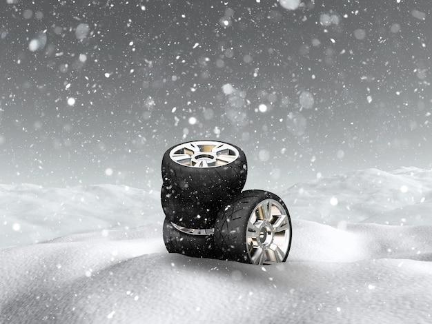 Rodas de carro 3d na paisagem de neve Foto Premium