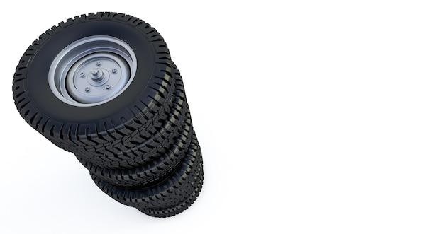 Rodas isoladas em branco. pneus de inverno. renderização 3d Foto Premium