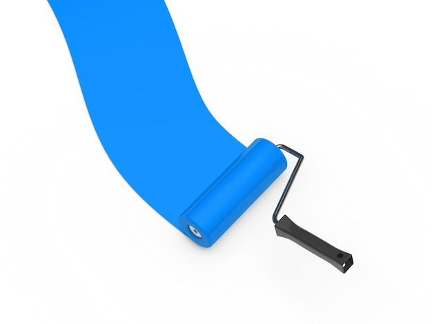 Rolo de pintura azul Foto gratuita
