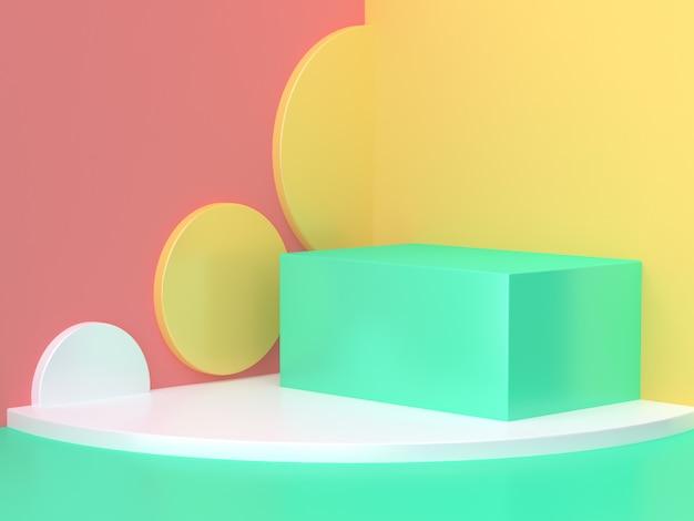 Rosa amarela verde cena geométrica parede abstrata canto mínima renderização em 3d Foto Premium