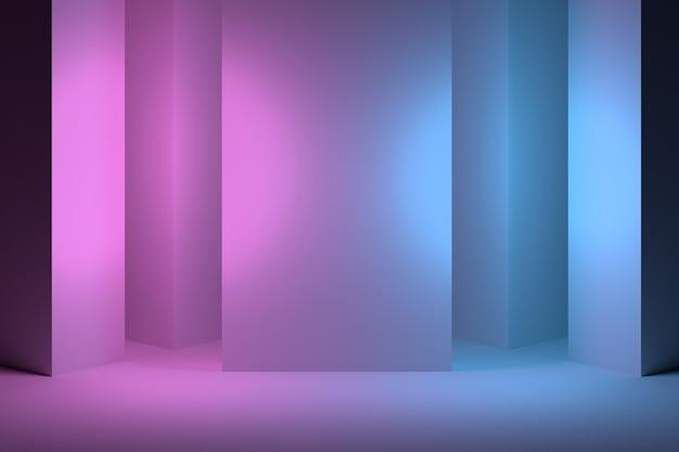 Rosa azul interior com colunas Foto Premium