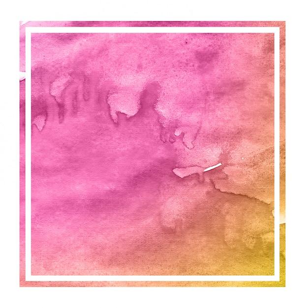Rosa e laranja mão desenhada aquarela moldura retangular textura de fundo com manchas Foto Premium