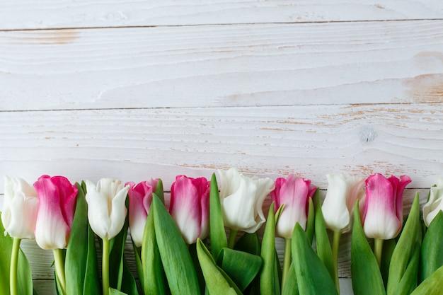 Rosa e tulipas brancas na superfície de madeira branca Foto Premium
